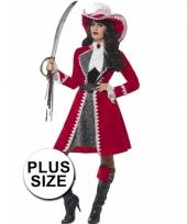 Grote maat piraat kapitein dames verkleedkleding