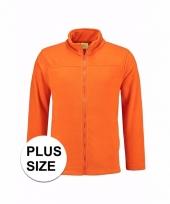 Grote maat wintersport fleecevest oranje voor volwassenen