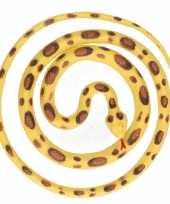 Grote rubberen speelgoed python slangen geel bruin 137 cm