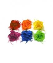 Haarelastiek met roos veren en glitters