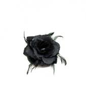 Haarelastiek met zwarte roos veren en glitters