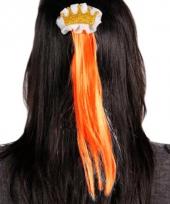 Haarspeld kroon met oranje haar