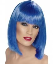 Half lange blauwe damespruik