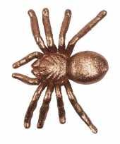 Halloween gouden grote halloween decoratie spin met glitters