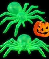 Halloween halloween versiering glow in the dark spinnen 14 cm 2x stuks