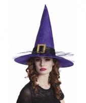 Halloween paarse heksenhoed met gesp