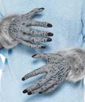 Halloween weerwolf handschoenen grijs voor volwassenen