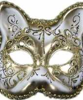 Handgemaakt katjes poesjes masker wit goud