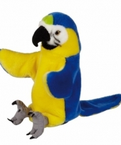 Handpop blauw gele ara papegaai pluche 25 cm