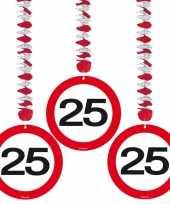 Hangdecoratie 25e verjaardag 6 stuks