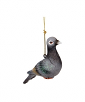 Hangdecoratie grijze duif 12 cm