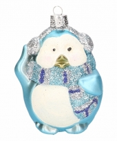 Hangdecoratie pinguin 4 stuks blauw