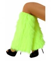 Harige beenwarmers fluor groen