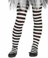 Heksen verkleedaccessoires panty maillot zwart wit voor meisjes