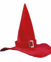 Heksenhoed fluweel rood met gesp