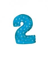 Helium ballon blauw met sparkle nummer 2
