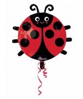 Helium ballon met blij lieveheersbeestje print 45 cm