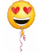 Helium ballon met hartjes ogen smiley print 43 cm