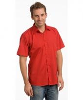 Heren overhemd rood van l s korte mouw