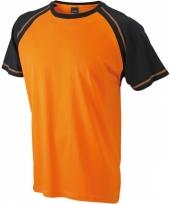 Heren shirt korte mouwen oranje zwart