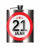 Heupfles 21 jaar 200 ml verjaardagscadeay