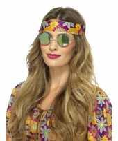 Hippie bril groene spiegelglazen voor volwassenen