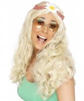 Hippie pruik blond met bloem