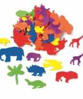 Hobby foam 50x foam rubberen dieren gekleurd