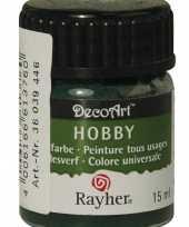 Hobby materialen verf donkergroen 15 ml
