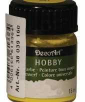 Hobby materialen verf geel 15 ml