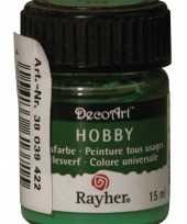 Hobby materialen verf groen 15 ml