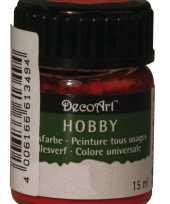 Hobby materialen verf rood 15 ml