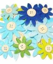Hobby vilt 12 grijs groen blauw vilten bloemen met knoop 3 5 7 c