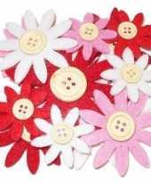 Hobby vilt 12 rood wit roze vilten bloemen met knoop 3 5 7 c