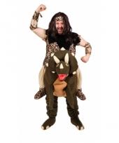 Holbewoner op dino kostuum