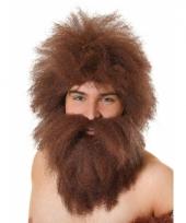 Holbewoners pruik en baard bruin