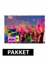 Holi poeder pakket roze lichtblauw en geel