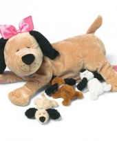 Hondjes knuffel met puppys 25 cm