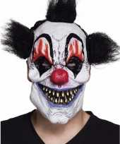 Horror clownsmasker met zwart haar