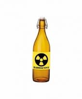 Horror decoratie fles oranje met radioactive etiket