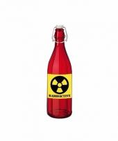 Horror decoratie fles rood met radioactive etiket