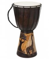 Houten drum instrument met giraffe 40cm