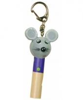 Houten kinder dierenfluitje muis 7 cm