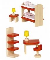 Houten kinderkamer meubeltjes voor poppenhuis