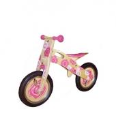 Houten loopfiets met roze bloemen voor kinderen