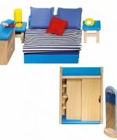 Houten moderne slaapkamer meubeltjes voor poppenhuis