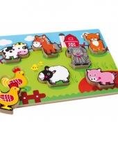 Houten puzzel met boerderijdieren