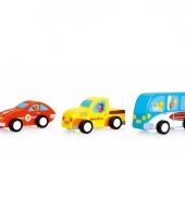 Houten speelgoed autoset 3 stuks 9 5 cm