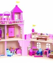 Houten speelgoed kasteel met meubels