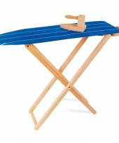 Houten speelgoed strijkplank met strijkijzer
